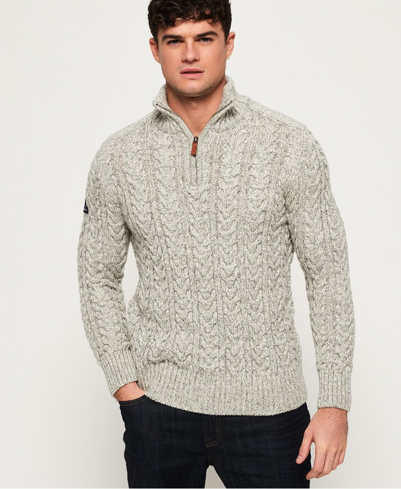 JERSEY SUPERDRY JACOB HENLEY CREMALLERA GRIS